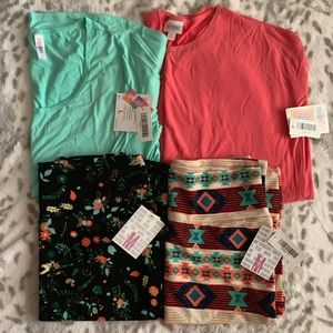 LuLaRoe Solid Shirts and Patterned Cassies Combo